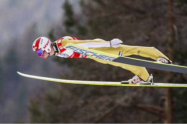 Slovenia's Robert Kranjec jumps during the FIS Ski Flying World Cup 2011-2012 in Planica on March 18, 2012.  AFP PHOTO / Jure Makovec (Photo credit should read Jure Makovec/AFP/Getty Images)