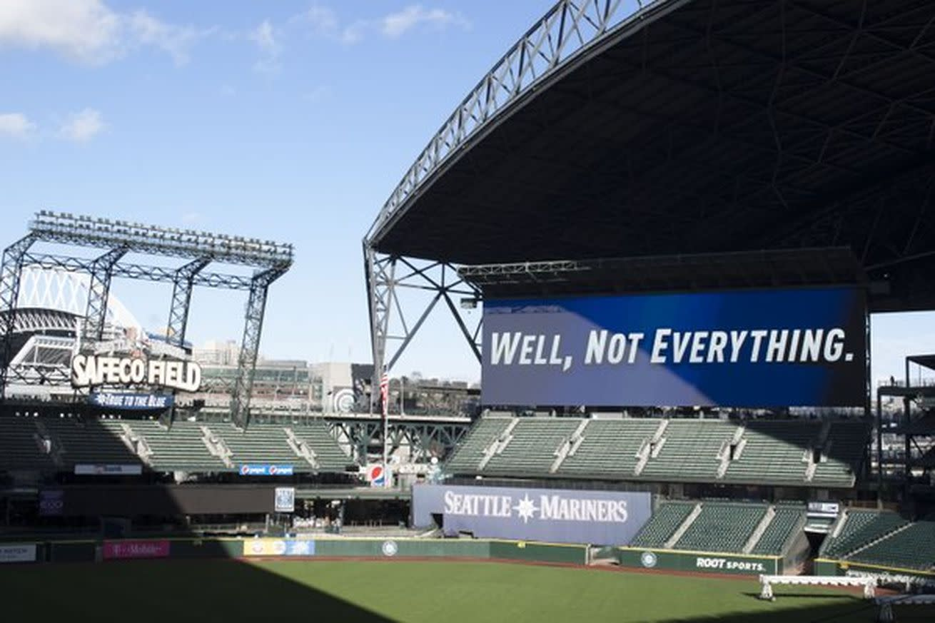 The Rangers were happy about their new video board and then the Mariners ethered them