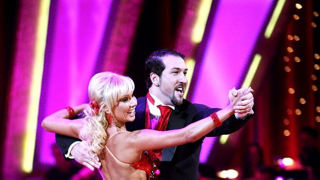 Professional dancer, Kim Johnson and Joey Fatone perform their second dance in the 4th season of Dancing with the Stars.