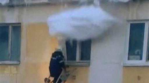 Wall of Snow Slams Firefighter Attempting Rescue