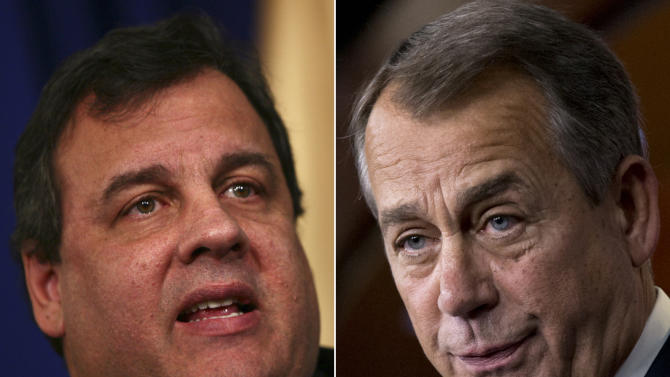 This photo combination shows New Jersey Gov. Chris Christie, left, and U.S. Speaker of the House John Boehner, R-Ohio. Christie, a Republican who has praised President Barack Obama's handling of Superstorm Sandy, on Wednesday, Jan. 2, 2013 blasted Boehner for delaying a vote for federal storm relief. (AP Photo)