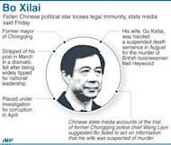 Graphic on disgraced Chinese politician Bo Xilai, who has been expelled from the country's parliament and stripped of his legal immunity, clearing the way for prosecution, state media said Friday