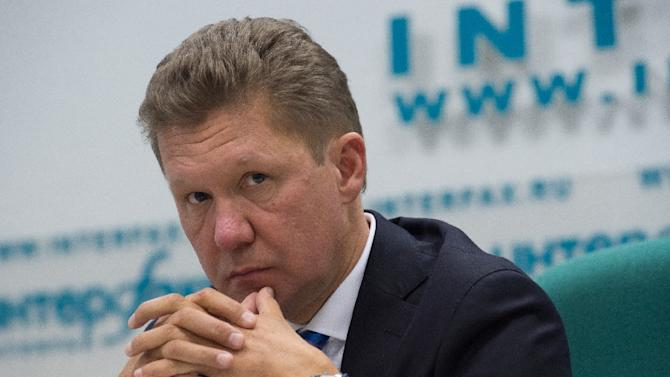 Russia's gas giant Gazprom CEO, Alexei Miller, attends a press conference in Moscow on June 16, 2014