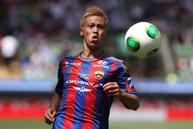 In this June 1, 2013 file photo, CSKA Moscow's Keisuke Honda watches the ball during a Cup of Russia final match between CSKA Moscow and Anzhi in the Akhmad Arena stadium in Grozny, Russia. AC Mil