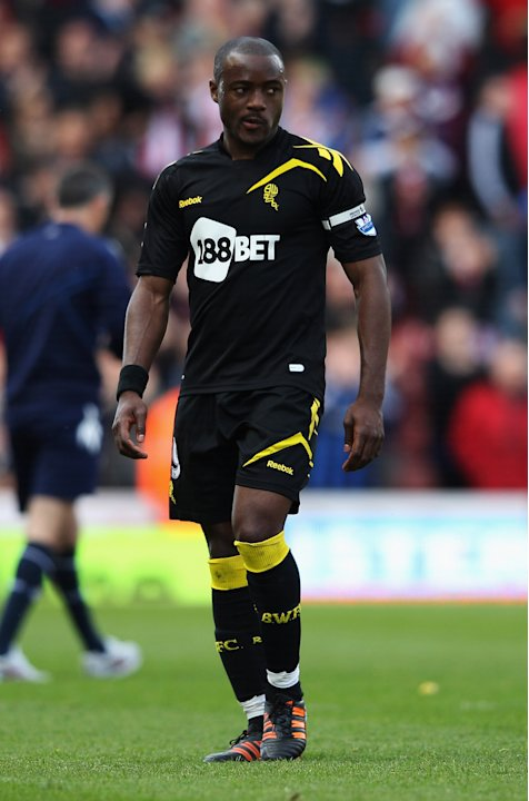 Nigel Reo-Coker of Bolton Wanderers looks dejected as they are relegated after the Barclays Premier League match between Stoke City and Bolton Wanderers at Britannia Stadium on May 13, 2012 in Stoke o