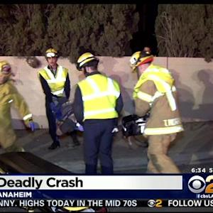 2 Killed, Teen In Critical Following Car Crash Into Yard Of Anaheim Home