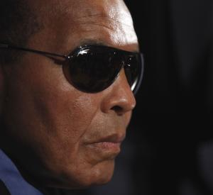 Boxing legend Muhammad Ali is seen during a news conference at the National Press Club in Washington, Tuesday, May 24, 2011, with other prominent American Muslim and clergy, as they joined the families of the two US hikers detained in Iran to appeal for their release. Shaun Bauer and Josh Fattal have been detained in Iran since July 31, 2009. (AP Photo/Pablo Martinez Monsivais)