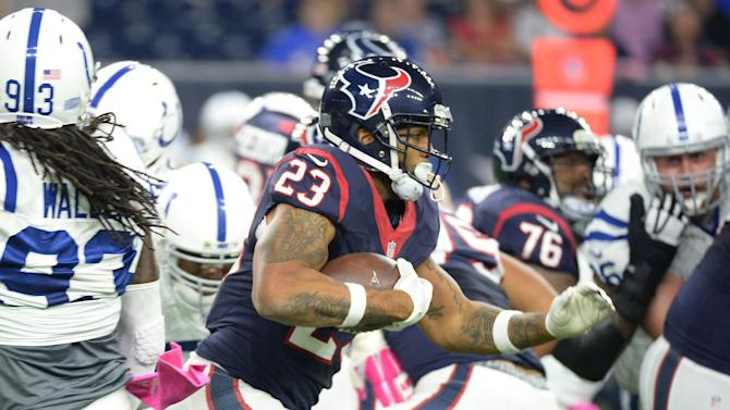 Houston Texans' Arian Foster (23) runs against the Indianapolis Colts during the first half of an NFL football game Thursday, Oct. 8, 2015, in Houston. (AP Photo/George Bridges)
