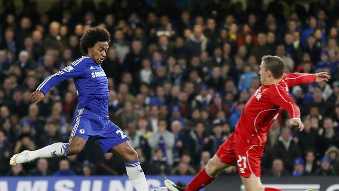 Chelsea's Willian challenges Liverpool's Lucas during their English League Cup semi-final second leg soccer match in London