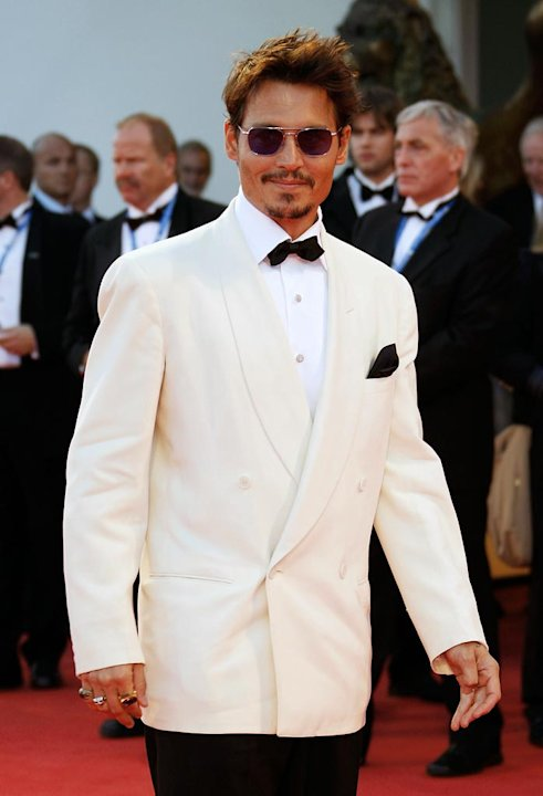 Johnny Depp attends the Tim Burton Golden Lion For Lifetime Achievement Award in Venice during Day 8 of the 64th Venice Film Festival.