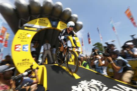 Etixx-Quick Step rider Mark Cavendish of Britain cycles during the individual time-trial first stage of the 102nd Tour de France cycling race in Utrecht