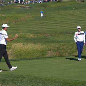 Brooks Koepka curls one in for birdie at AT&T Pebble Beach
