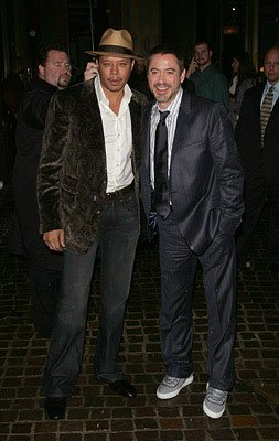 Terrence Howard and Robert Downey Jr. at the New York City premiere of Paramount Pictures' Iron Man