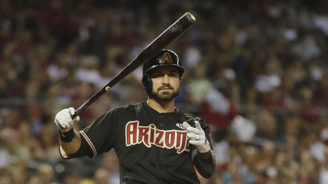 Arizona Diamondbacks' Adam Eaton hits against the Los Angeles Dodgers during the third inning of a baseball game, Tuesday, July 9, 2013, in Phoenix. (AP Photo/Matt York)