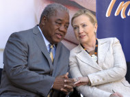 US Secretary of State Hillary Rodham Clinton, right, talks with Zambia's President Rupiah Banda during her visit to the newly opened University Teaching Hospital Pediatric Centre of Excellence, in Lusaka, Zambia, Saturday, June 11, 2011. Clinton is on the first leg or a three-nation tour of Africa. (AP Photo/Susan Walsh, Pool)