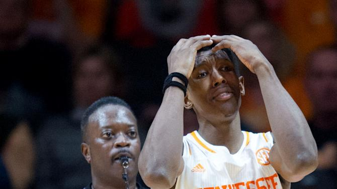 Tennessee's Josh Richardson reacts after a foul is called against him during an NCAA college basketball game against Mercer in Knoxville, Tenn., Monday, Dec. 22, 2014. Tennessee won 64-54. (AP Photo/The Knoxville News Sentinel, Saul Young)