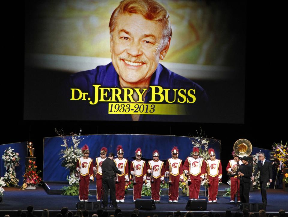 "The Southern California marching band prepares to play ""Amazing Grace"" during a memorial service for Jerry Buss, the late Los Angeles Lakers owner who died Monday from cancer complications, Thursday, Feb. 21, 2013, in Los Angeles. (AP Photo/Reed Saxon)"