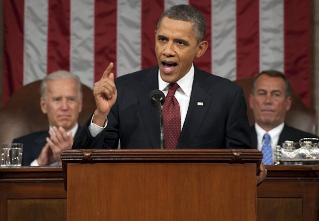 President Barack Obama delivers his State of the Union address on Capitol Hill in Washington, Tuesday, Jan. 24, 2012. (AP Photo/Saul Loeb, Pool)