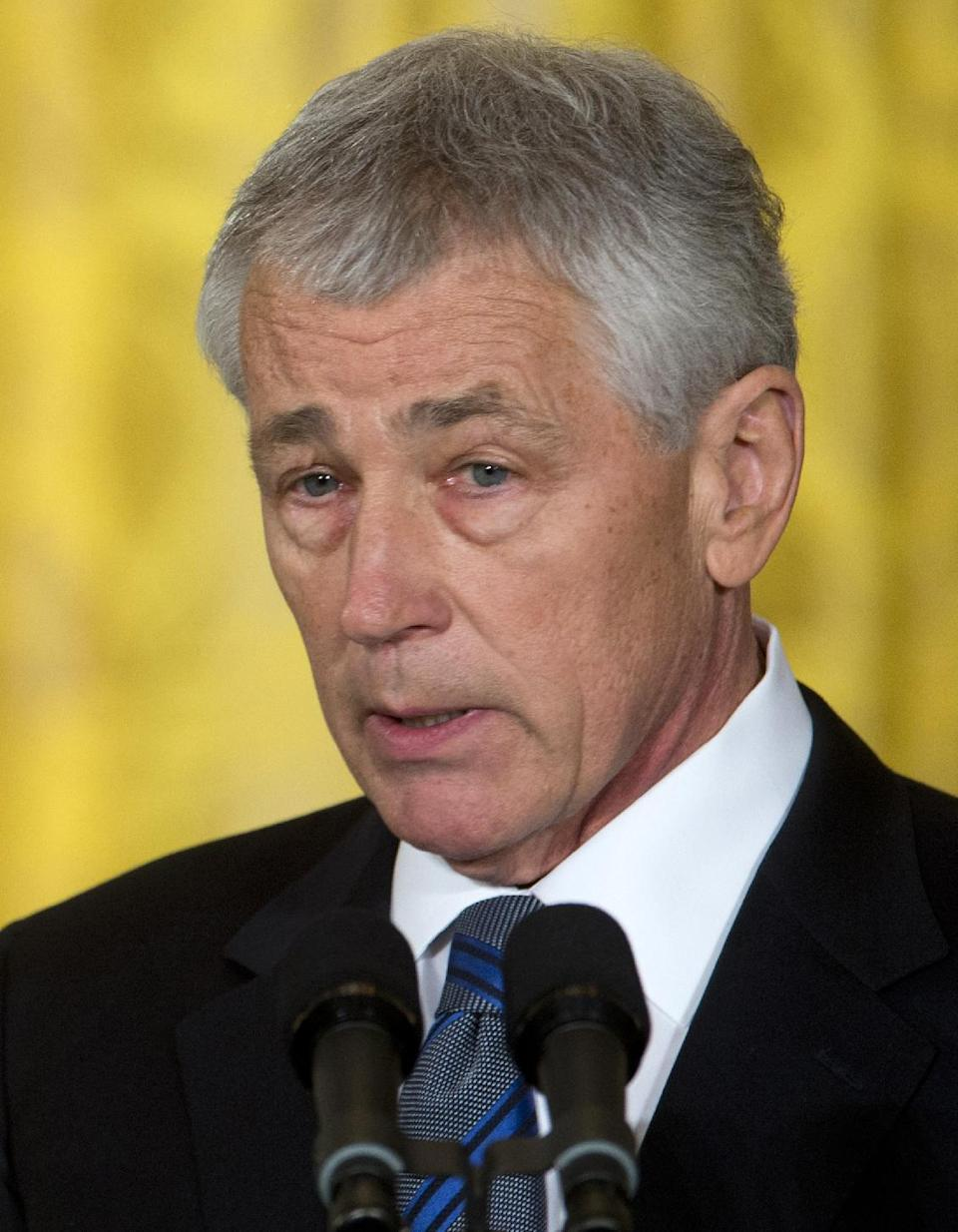 Former Nebraska Sen. Chuck Hagel, president Barack Obama's choice for defense secretary, speaks in the East Room of the White House in Washington, Monday, Jan. 7, 2013, where the president made the announcement. (AP Photo/Carolyn Kaster)