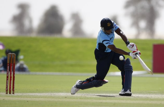 Sussex Sharks' Chris Jordan plays a shot during the Emirates Twenty20 final cricket match against the Fly Emirates XI in Dubai