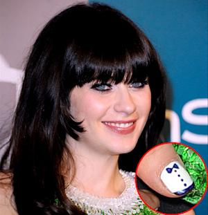 Zooey Deschanel Rocks Sideburns, Tuxedo Nail Art at 2012 Golden Globes