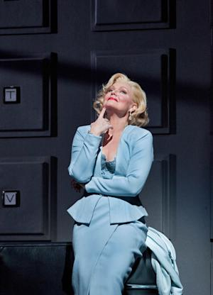 "In this April 18, 2012, photo provided by the Metropolitan Opera, Karita Mattila plays the 337-year-old Emilia Marty in Janacek's ""The Makropulos Case"" during a rehearsal at the Metropolitan Opera in New York. ""The Makropulos Case"" returned to the Met on Friday night, April 27, after an 11-year absence. (AP Photo/Metropolitan Opera, Cory Weaver)"