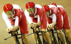 Bradley Wiggins rides second from front with England 4000m team pursuit during qualifying at 2014 Commonwealth Games in the Chris Hoy velodrome in Glasgow, Scotland