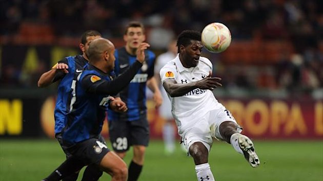 Emmanuel Adebayor, right, was the subject of racist chanting at the San Siro