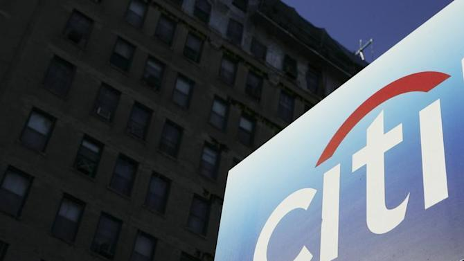 A Citibank sign is seen outside of a bank outlet in New York