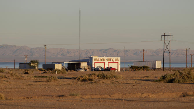 In this Dec. 27, 2010 photo, a public building stands on the rugged terrain in Salton City, Calif., a town on the Salton Sea. Water conservation efforts are being made in hopes of restoring the evaporating inland sea that was once considered a developing center for tourism. (AP Photo/Lenny Ignelzi)