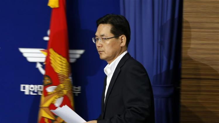 South Korea's Defense Ministry spokesman Kim Min-seok attends a briefing at the Defense Ministry in Seoul