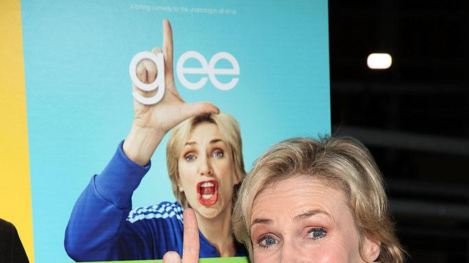 "Jane Lynch arrives at ""Glee"" - Los Angeles Premiere Event at Santa Monica High School on May 11, 2009 in Santa Monica, California."