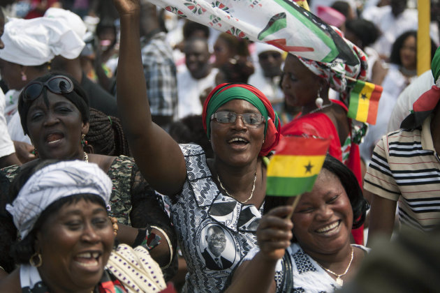 Supporters cheer during the inauguration ceremony for President John Dramani Mahama, at Independence Square in Accra, Ghana, Monday, Jan. 7, 2013. Ghana's President John Dramani Mahama was sworn in Mo