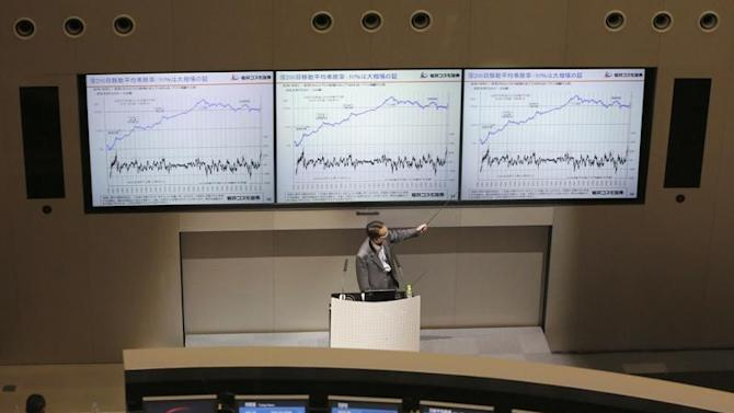 Man speaks during a seminar about stock investment at Tokyo Stock Exchange