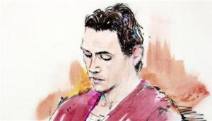A clean-shaven James Holmes appears in court in Centennial, Colorado in this court sketch