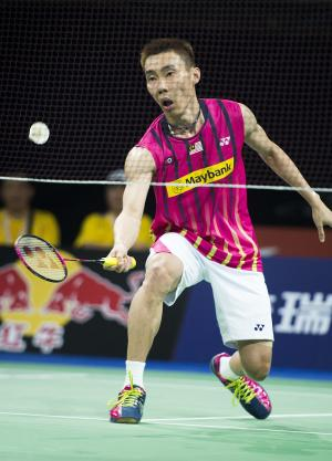 Lee Chong Wei of Malaysia during a match in Copenhagen on August 25, 2014