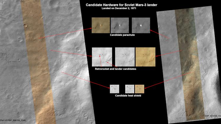 This image released by NASA shows a set of pictures taken by NASA's Mars Reconnaissance Orbiter showing what may be parts of a Soviet spacecraft that landed on Mars in 1971. Scientists say more work is needed to confirm that it is hardware from the Mars 3 lander. The spacecraft transmitted for 14.5 seconds on the Martian surface. (AP Photo/NASA)