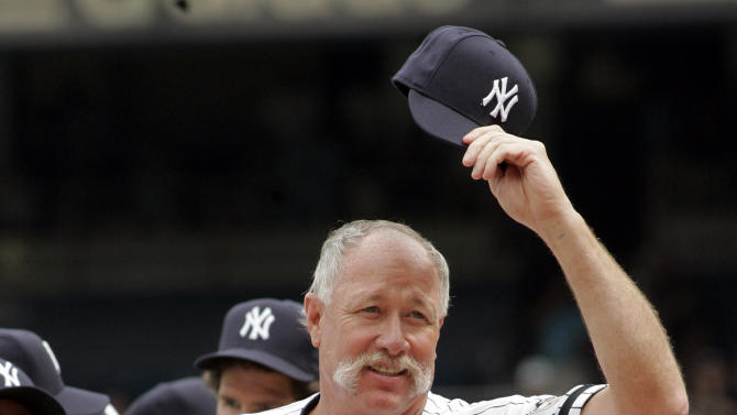 """FILE - In this Aug. 2, 2008, file photo, New York Yankees Hall of Famer Richard """"Goose"""" Gossage tips his cap to fans during introduction ceremonies before an old timers baseball game at Yankee Stadium in New York. For only the second time in four decades, baseball writers failed to give any player the 75 percent required for induction to the Hall of Fame on Wednesday, Jan. 9, 2013, sending a powerful signal that stars of the Steroids Era will be held to a different standard. """"I think the steroids guys that are under suspicion got too many votes,"""" Gossage said. (AP Photo/Ed Betz, File)"""