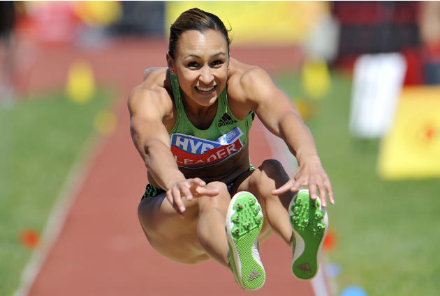 Great Britain's Jessica Ennis competes in the long  jump competition during the  women's heptathlon at the Hypo Meeting in Goetzis, Austria, on Sunday, May 29, 2011. (AP Photo/Kerstin Joensson)
