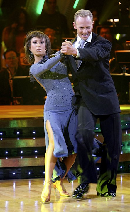 Professional dancer, Cheryl Burke and Ian Ziering perform a Ballroom dance in the 4th season of Dancing with the Stars. 