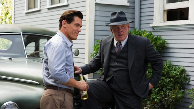 """This film image released by Warner Bros. Pictures shows  Josh Brolin, left, as Sgt. John O'Mara, and Nick Nolte, as Chief Parker in """"Gangster Squad."""" (AP Photo/Warner Bros. Pictures, Wilson Webb)"""