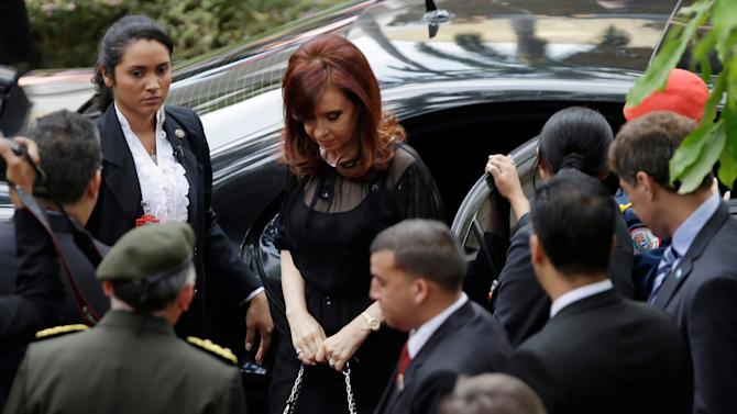 Argentina's President Cristina Fernandez arrives for the inauguration of Venezuela's President-elect Nicolas Maduro atthe National Assembly in Caracas, Venezuela, Friday, April 19, 2013. The opposition boycotted the swearing-in ceremony, hoping that the ruling party's last-minute decision to allow an audit of nearly half the vote could change the result in a the bitterly disputed presidential election. (AP Photo/Fernando Llano)