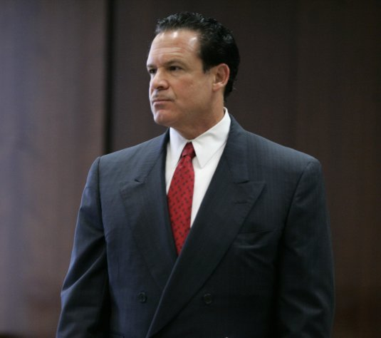 FILE - In this May 8, 2009, file photo, attorney Paul Bergrin is seen in Superior Court in Newark, N.J. Bergrin a defense attorney and former federal prosecutor whose clients have included rap stars and a soldier at the Abu Ghraib prison in Iraq was charged Wednesday, May 20, 2009, with arranging the killing of one witness and trying to hire a hit man to kill another. In Newark, N.J., on Monday, March 18, 2013, the once-prominent defense attorney was found guilty on all counts at his murder and racketeering trial. Jurors deliberated for a full day and parts of two others before returning their verdict in the case of Paul Bergrin. He faced numerous counts including murder, racketeering, conspiracy, prostitution and drug-related offenses. (AP Photo/Mike Derer, File)