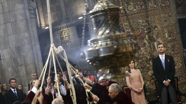 Spain's King Felipe and Queen Letizia attend celebrations for St James' Day inside the cathedral in Santiago de Compostela