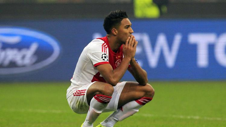 Ajax Amsterdam's Hoesen reacts after their Champions League soccer match against AC Milan in Milan