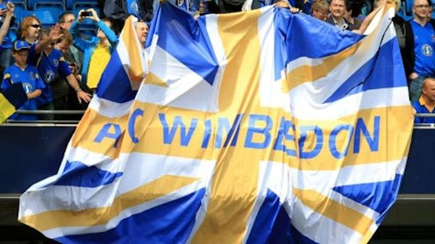 AFC Wimbledon fans hold a giant flag in the stands