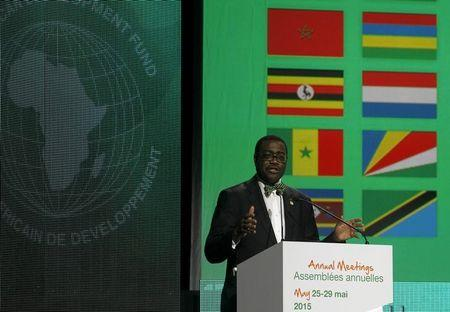 Nigeria's Agriculture Minister Akinwumi Adesina talks during the closing ceremony of the annual meeting commemorating the 50th anniversary of the African Development Bank (AfDB) in Abidjan