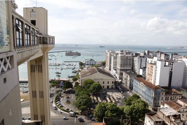 The Lacerda Elevator and the Model Market are seen at the Historic Centre in Salvador