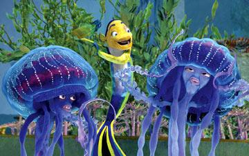 Oscar ( Will Smith ) jamms on the jellies Ernie and Bernie ( Doug E. Doug and Ziggy Marley ) in Dreamworks' Shark Tale