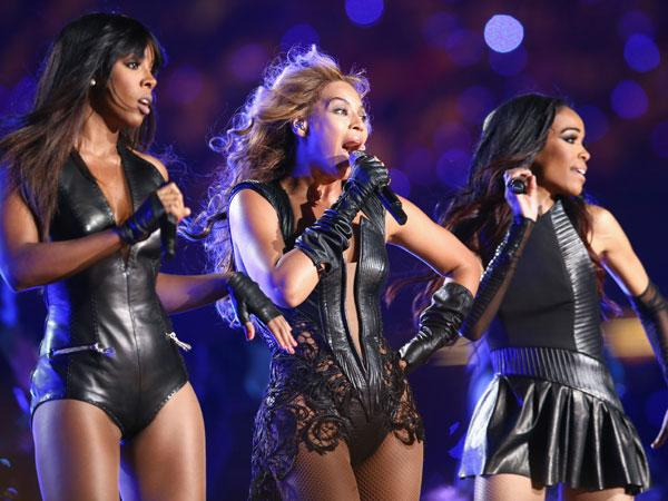 Kelly Rowland, Beyonce Knowles and Michelle Williams of Destiny's Child perform during the Pepsi Super Bowl XLVII Halftime Show at Mercedes-Benz Superdome on February 3, 2013 in New Orleans, Louisiana. (Photo by Christopher Polk/Getty Images)